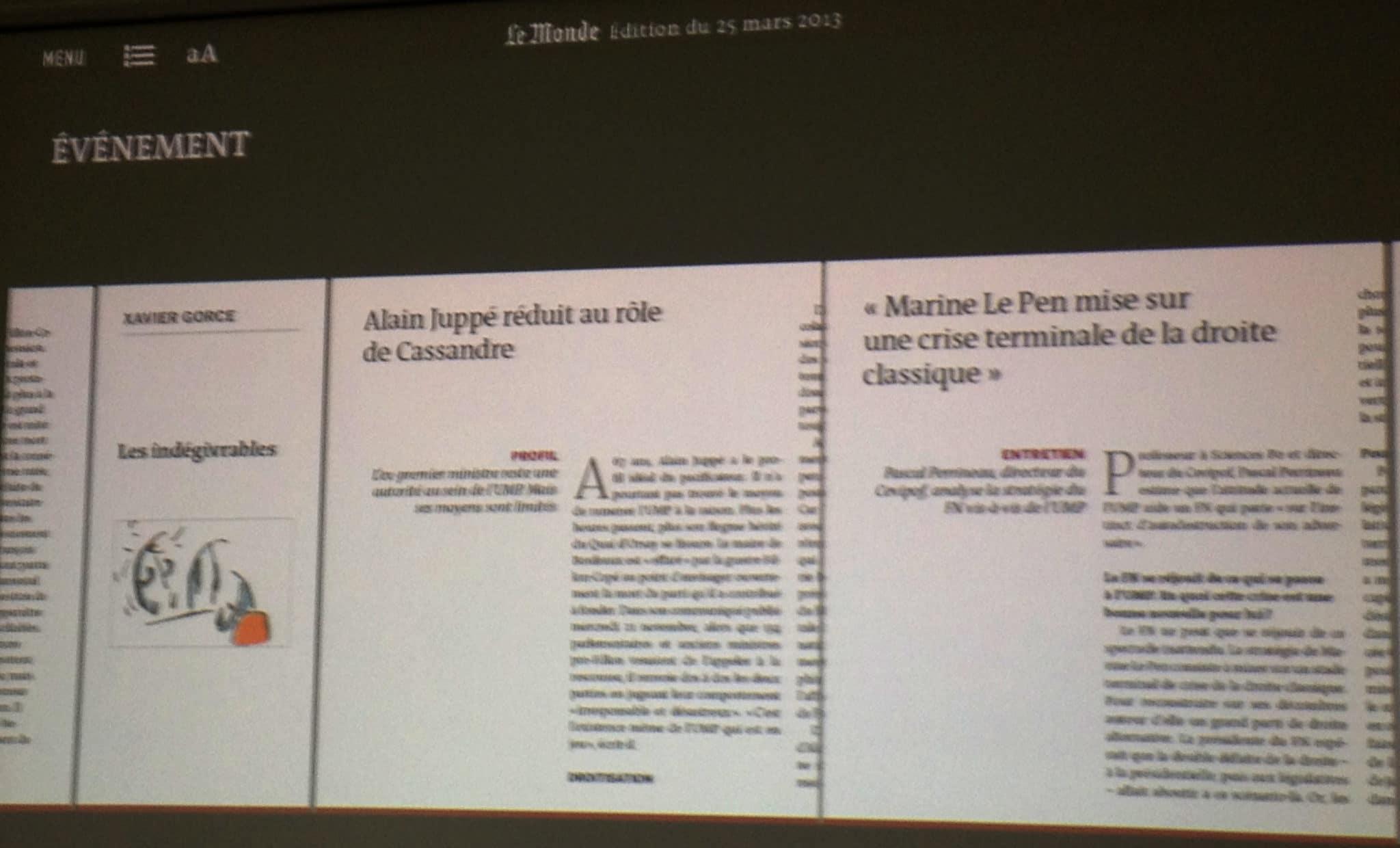"""La lecture """"zen"""" proche du papier ©Le Monde"""