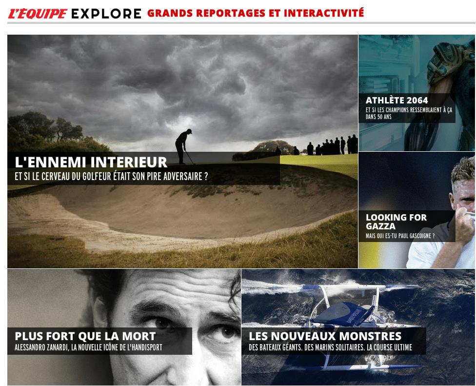 "La rubrique ""Explore"" de ©L'Equipe"